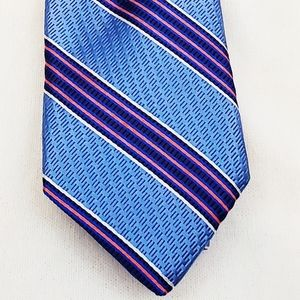 Ted Baker London Tie Silk Blue & Red Striped New